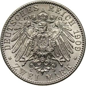 Niemcy, Saksonia, Fryderyk August III, 2 marki 1909, Muldenhütten, Uniwersytet w Lipsku