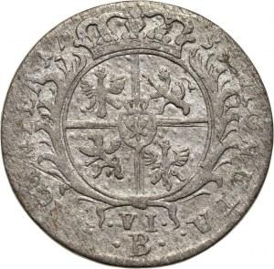 Fryderyk II, szóstak 1755 B, Wrocław, naśladownictwo pruskie szóstaka koronnego Augusta III