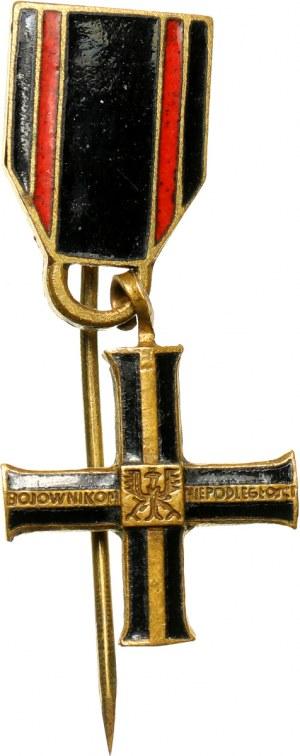 II RP, Krzyż Niepodległości, miniatura z metalową przywieszką