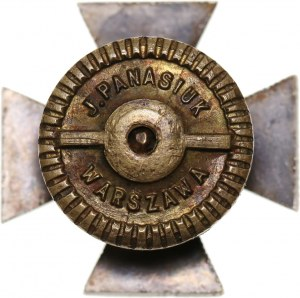 II RP, miniatura odznaki, Krzyż Obrony Lwowa z orderem Virtuti Militari i mieczami 1921