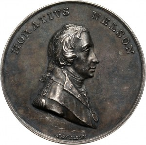 Great Britain, Admiral Lord Nelson, Death at the Battle of Trafalgar, silver medal 1805