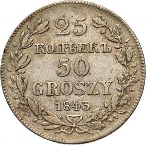 Zabór rosyjski, Mikołaj I, 25 kopiejek = 50 groszy 1843 MW, Warszawa