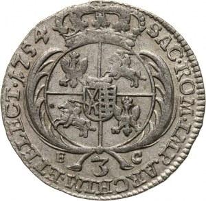 August III, trojak 1754 EC, Lipsk