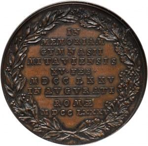 Kurlandia, Piotr Biron, medal z 1785 roku, wybity w Rzymie z okazji 10-lecia Gimnazjum w Mitawie