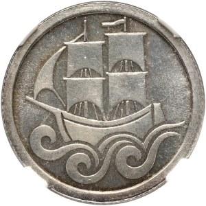 Wolne Miasto Gdańsk, 1/2 guldena 1923, Utrecht, koga, stempel lustrzany (PROOF)