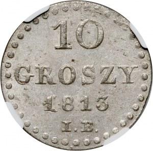 Księstwo Warszawskie, Fryderyk August I, 10 groszy 1813 IB, Warszawa