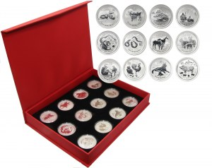 Australia, set of 12 silver 1 oz. coins, 2008-2019, Lunar II