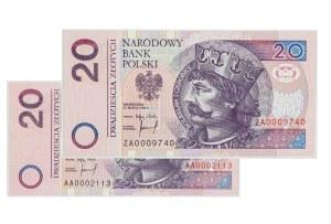 III RP, 20 złotych 25.03.1994, zestaw dwóch banknotów seria AA i ZA