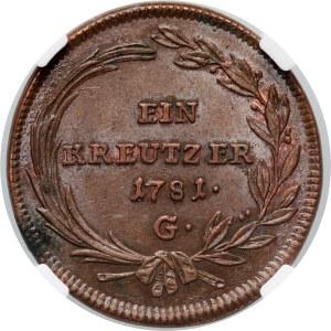 Austria, Joseph II, Kreuzer 1781 G, Karlsburg