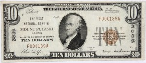 Stany Zjednoczone Ameryki, National Currency, Illinois, First National Bank of Mount Pulaski, 10 dolarów 1929