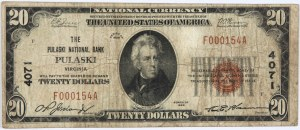 Stany Zjednoczone Ameryki, National Currency, Virginia, The Pulaski National Bank, 20 dolarów 1929
