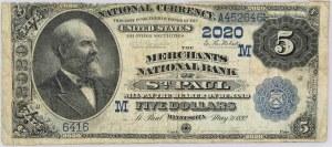 USA, National Currency, Minnesota, Merchants National Bank of Saint Paul, 5 Dollars 1882