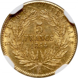 France, Napoleon III, 5 Francs 1854 A, Paris