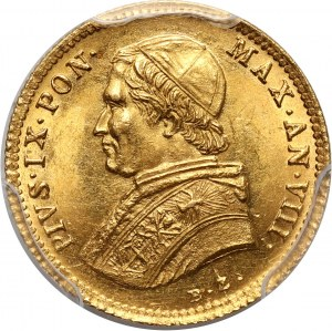 Italy, Papal States, Pius IX, Scudo 1853-VIII R, Rome