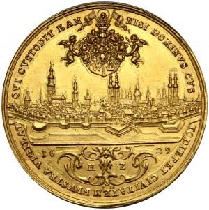 Wrocław, medal w złocie wagi 12 dukatów z 1629 roku, panorama miasta