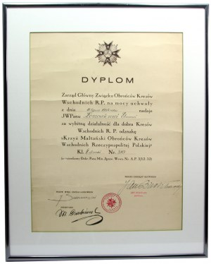 II RP, Dyplom nadania Gwiazdy Związku Obrońców Kresów Wschodnich