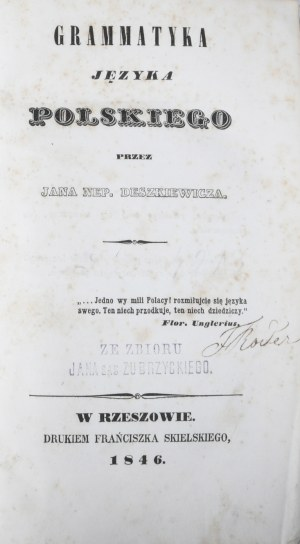 Deszkiewicz Jan Nepomucen - Grammatyka języka polskiego