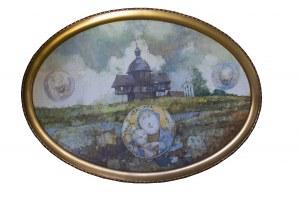 DUDA-GRACZ JERZY - Obraz 2027. Wieś Kościaszyn – pejzaż pośmiertny, 1996
