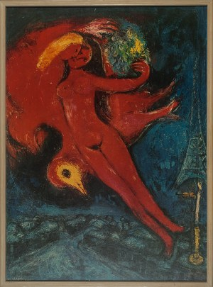 Marc Chagall (1887 - 1985), Modelka w czerwieni, 1954 r.