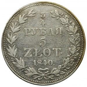 3/4 rubla = 5 złotych Warszawa 1840 MW