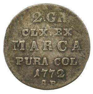 Poniatowski, Półzłotek 1772 AP - rzadki rocznik