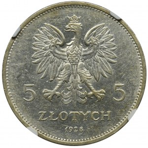 Nike, 5 złotych Bruksela 1928 - NGC AU53