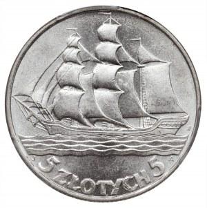 Żaglowiec, 5 złotych 1936 - PCGS MS62