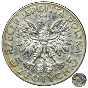 Głowa Kobiety, 5 złotych 1932 Warszawa - GCN VF30 - rzadkie