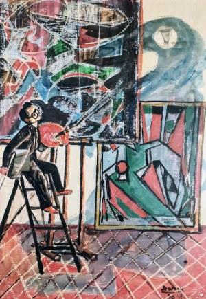 Bogusław SZWACZ (1912-2009), Autoportret w pracowni, 1956