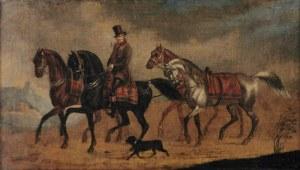 Artysta nieokreślony, Hrabia Mycielski prowadzący konie, ok. poł. XIX w.