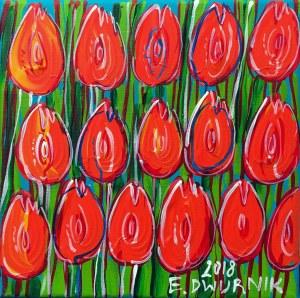 Edward Dwurnik, Pomarańczowe tulipany, 2018