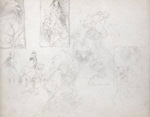 Jacek Malczewski (1854-1929), Szkice trzech kompozycji obrazów?, szkic grupy postaci, XII 1925