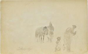 Jacek Malczewski (1854-1929), Szkice jeźdźca z koniem, mężczyzny stojącego tyłem oraz psa
