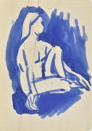 Jerzy Panek (1918-2001), Akt kobiety siedzącej z prawego profilu