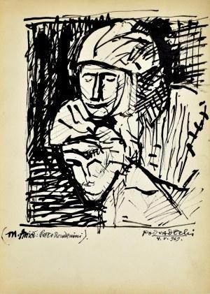 Kazimierz Podsadecki (1904-1970), Szkic głowy Matki Boskiej i Chrystusa wg rzeźby Piety Rondanini Michała Anioła, 1969