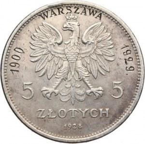Polska, II Rzeczpospolita 1918-1939, 5 złotych 1928 zn.m. NIKE, z grawerką