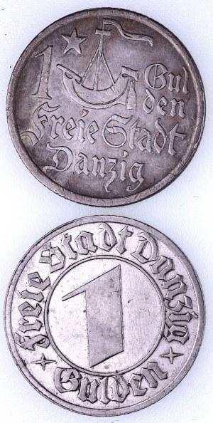 Wolne Miasto Gdańsk 1920-1939, zestaw 2 monet 1 gulden.