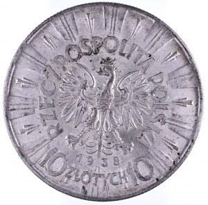 Polska, II Rzeczpospolita, 10 złotych 1938, Józef Piłsudski, Warszawa