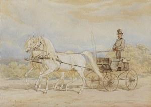Kossak Juliusz, DWA ARABY CIĄGNĄCE POWÓZ, 1877