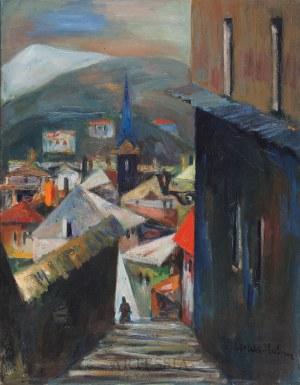 Eugeniusz Tukan-Wolski (1928-2014), Widok miasta z wieżą kościoła, 1959