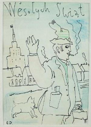 Edward Dwurnik (ur. 1943 Radzymin - 2018 Warszawa), Wesołych Świąt na tle Pałacu Kultury i nauki w Warszawie