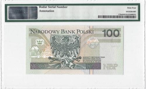 100 złotych 1994 - seria JO - numeracja radarowa - autograf projektanta p. Andrzeja Heidricha - PMG 64