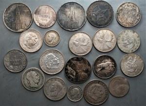 Świat - zestaw 20 srebrnych monet