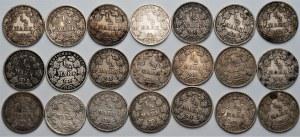NIEMCY - zestaw 21 sztuk 1/2 marki (1905-1917) srebro - różne mennice