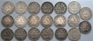 Niemcy - zestaw 20 sztuk 1/2 marki (1906-1919) srebro - różne mennice