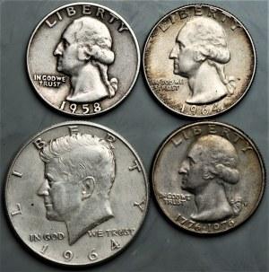 USA - zestaw 3 srebrnych monet (1958-1964) + quarter dolar 1976