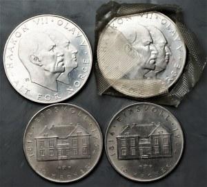 Norwegia - zestaw 4 sztuk monet - 2 x 25 koron 1970 i 10 koron 1964