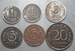 Królestwo Polskie - zestaw 6 sztuk - 1, 5, 20 fenigów (1917-1918)