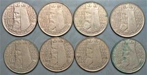 PRL - zestaw 8 sztuk 10 złotych 1964 - Kazimierz Wielki - napis wypukły + wklęsły