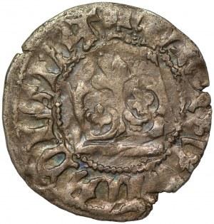 Władysław II Jagiełło (1386-1434) - Półgrosz - destrukt przesunięta korona
